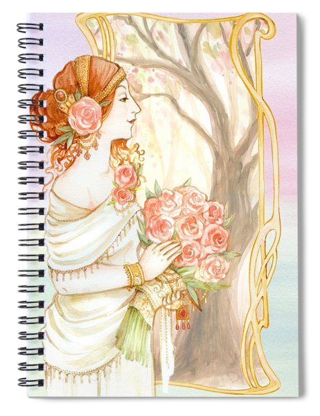 Vintage Art Nouveau Flower Lady Spiral Notebook