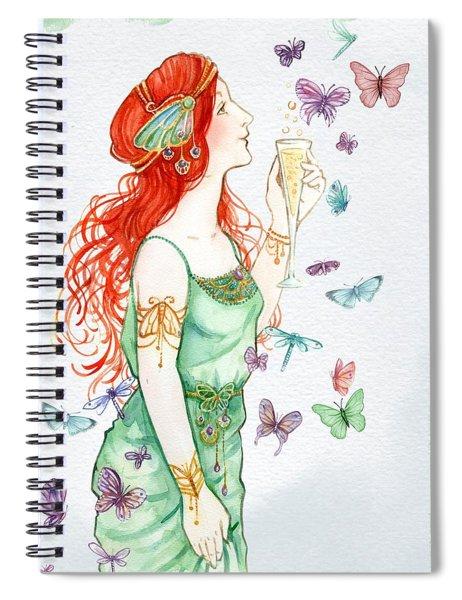 Vintage Art Nouveau Lady Party Time Spiral Notebook