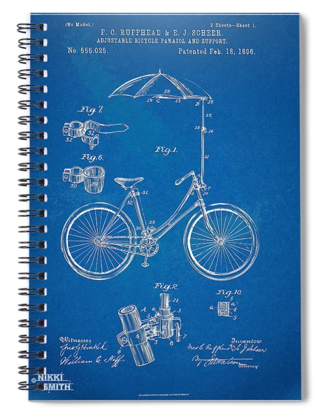Vintage Bicycle Parasol Patent Artwork 1896 Spiral Notebook