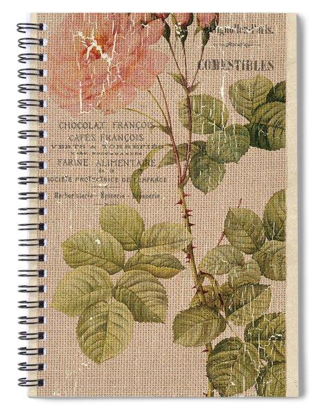 Vintage Burlap Floral 4 Spiral Notebook