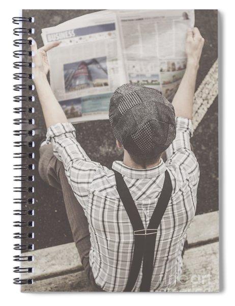 Vintage Businessman Reading Business News Spiral Notebook
