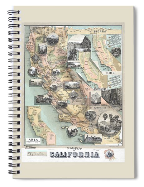Vintage California Map Spiral Notebook