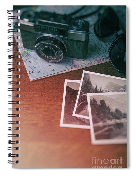 Vintage Camera On Map Spiral Notebook