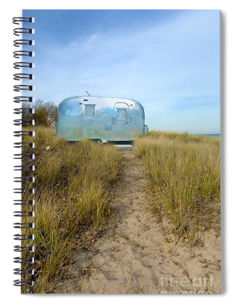 Vintage Camping Trailer Near The Sea Spiral Notebook