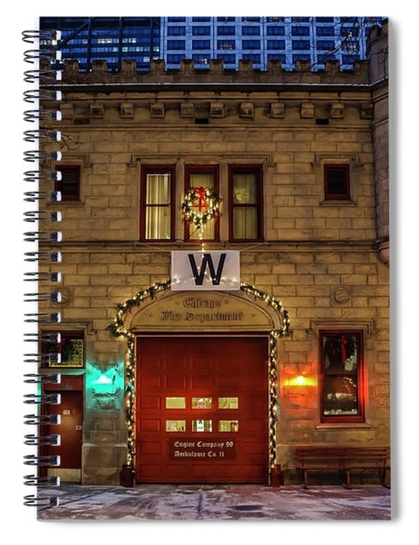 Vintage Chicago Firehouse With Xmas Lights And W Flag Spiral Notebook