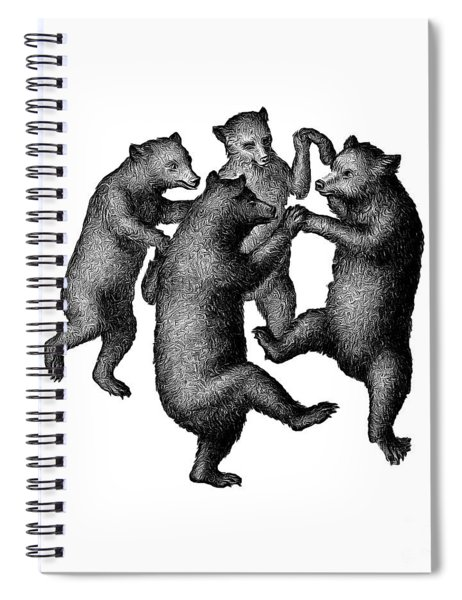 Spiral Notebook featuring the drawing Vintage Dancing Bears by Edward Fielding