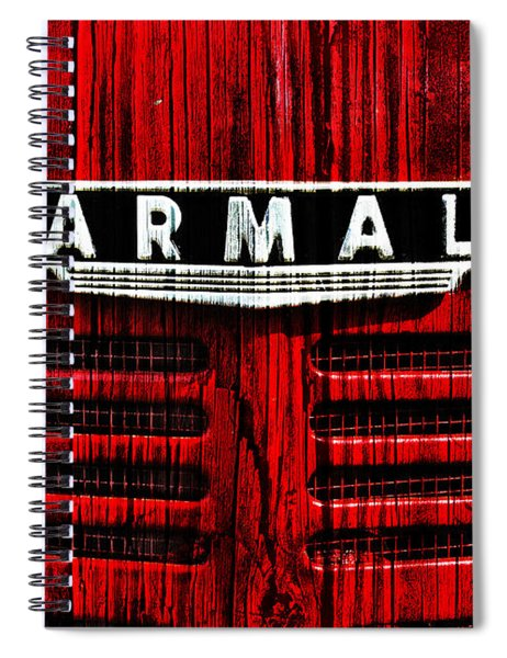 Vintage Farmall Red Tractor With Wood Grain Spiral Notebook