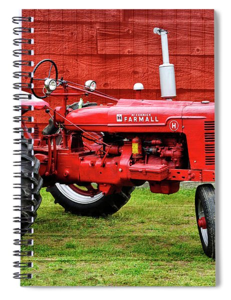 Vintage Farmall Tractor With Barnwood Spiral Notebook