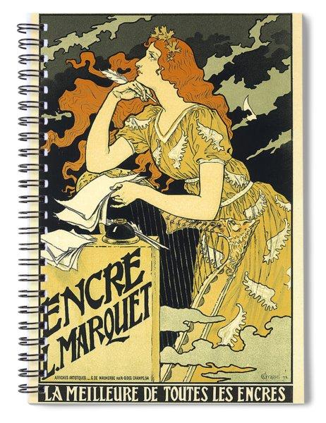 Vintage French Advertising Art Nouveau Encre L'marquet Spiral Notebook