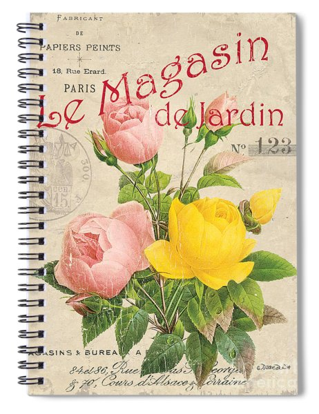 Vintage French Flower Shop 3 Spiral Notebook