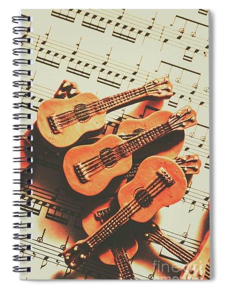 Vintage Guitars On Music Sheet Spiral Notebook