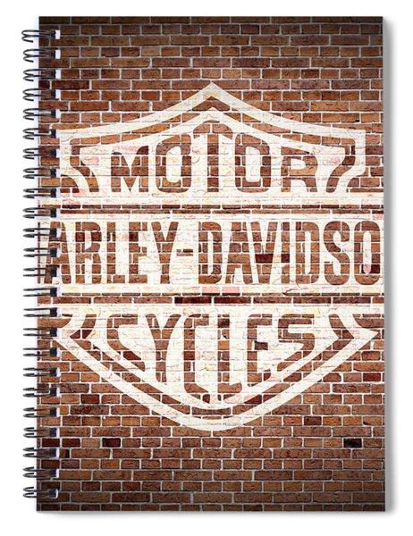 Vintage Harley Davidson Logo Painted On Old Brick Wall Spiral Notebook