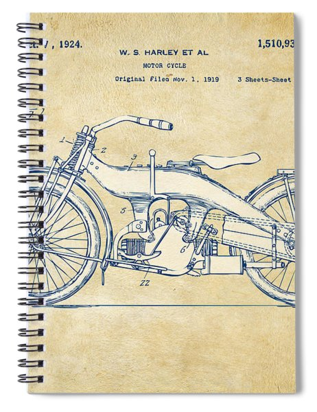 Vintage Harley-davidson Motorcycle 1924 Patent Artwork Spiral Notebook