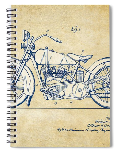 Vintage Harley-davidson Motorcycle 1928 Patent Artwork Spiral Notebook