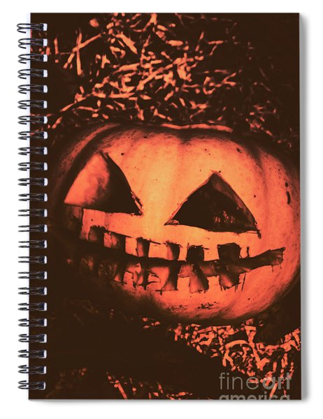 Vintage Horror Pumpkin Head Spiral Notebook