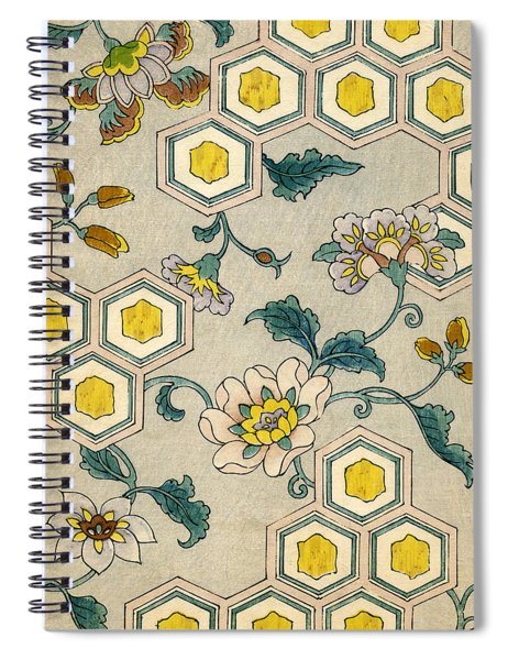 Vintage Japanese Illustration Of Blossoms On A Honeycomb Background Spiral Notebook