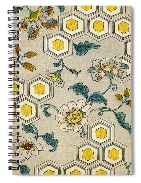 Vintage Japanese Illustration Of Blossoms On A Honeycomb Background Spiral Notebook