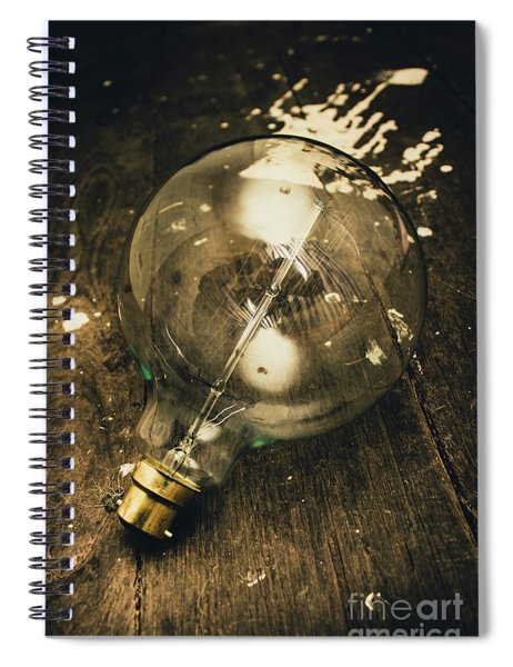 Vintage Light Bulb On Wooden Table Spiral Notebook