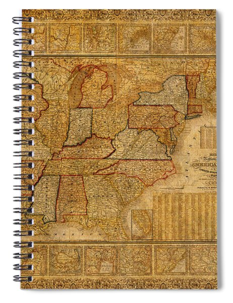 Vintage Map Of The United States Of America Usa Circa 1845 On Worn Distressed Parchment Spiral Notebook