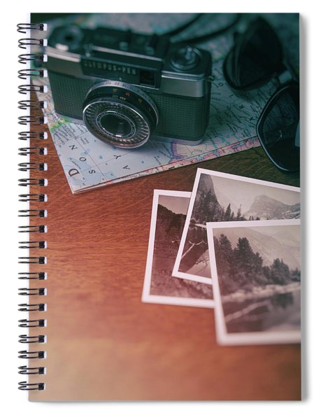 Vintage Photo Camera And Prints Spiral Notebook