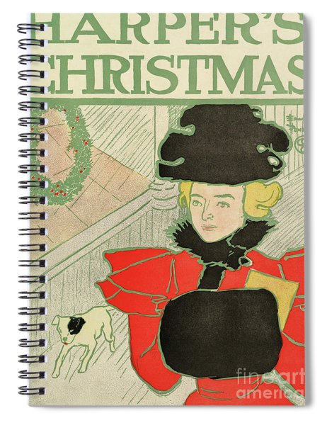 Vintage Poster Advertising Harper's New Monthly Magazine, Christmas 1894 Spiral Notebook