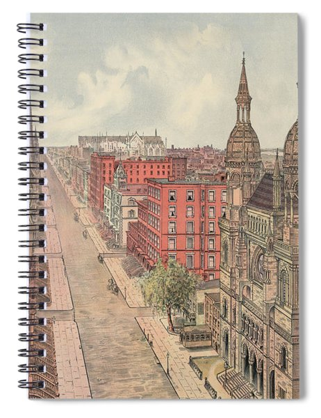 Vintage Print Of Fifth Avenue From 42nd Street In New York City, Looking North, 1904 Spiral Notebook