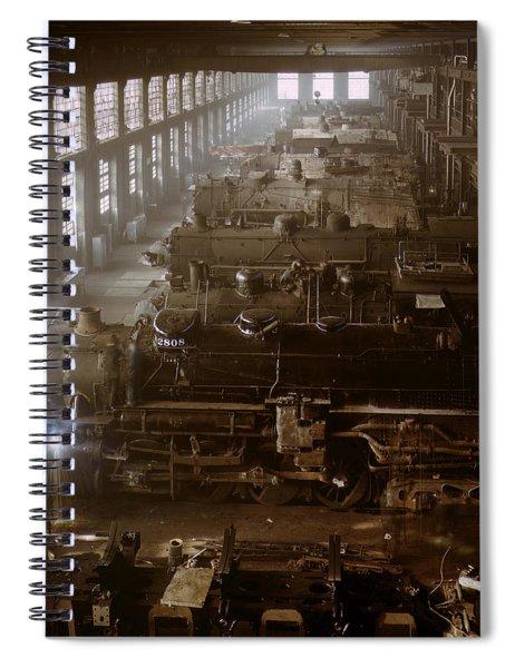 Vintage Railroad Locomotive Shop - 1942 Spiral Notebook