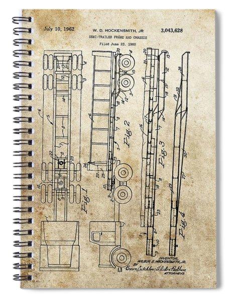 Vintage Semi Trailer Truck Patent Spiral Notebook