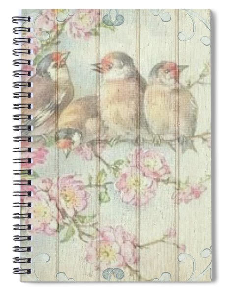 Vintage Shabby Chic Floral Faded Birds Design Spiral Notebook