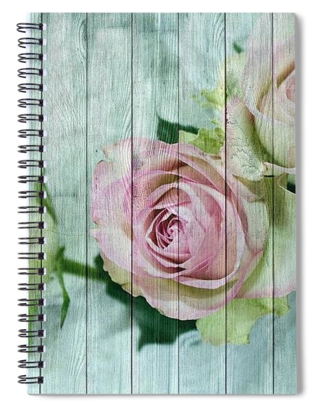 Vintage Shabby Chic Pink Roses On Wood Spiral Notebook
