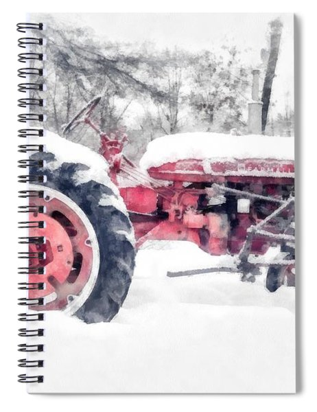 Vintage Tractor Christmas Spiral Notebook