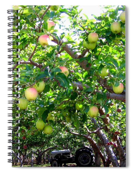 Vintage Tractor In Apple Orchard Spiral Notebook