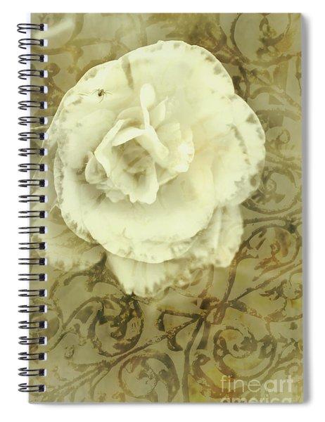 Vintage White Flower Art Spiral Notebook