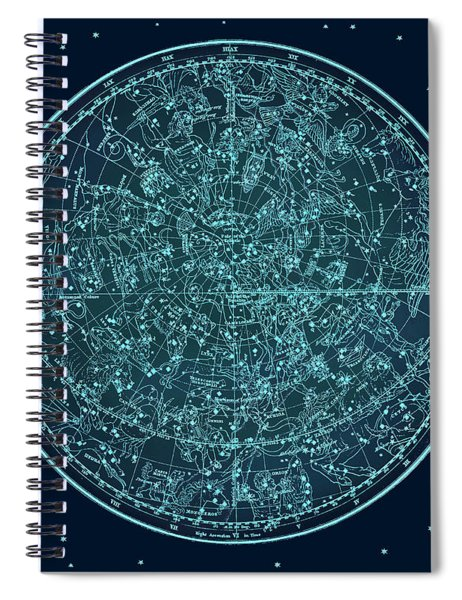 Vintage Zodiac Map - Teal Blue Spiral Notebook