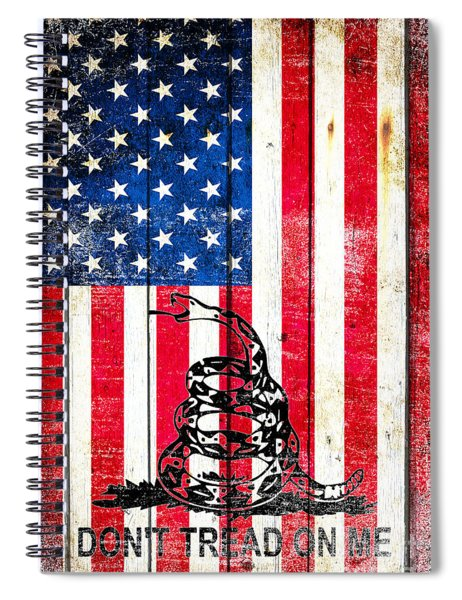 Viper On American Flag On Old Wood Planks Vertical Spiral Notebook