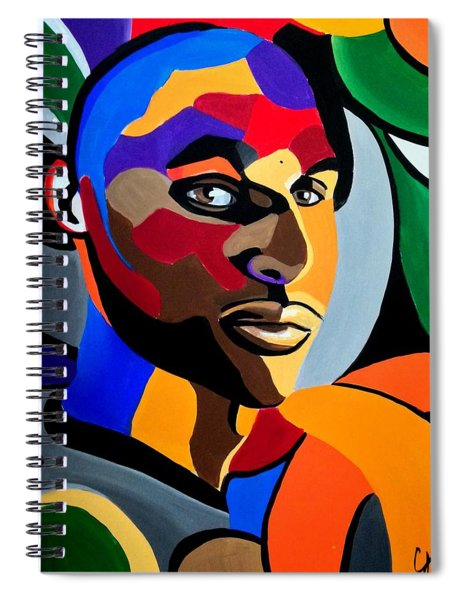 Visionaire, Abstract Male Face Portrait Painting - Illusion Abstract Artwork - Chromatic Spiral Notebook