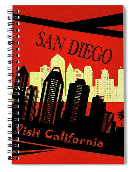 Visit San Diego California Postcard Spiral Notebook