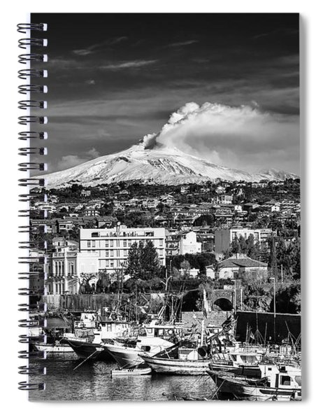 Spiral Notebook featuring the photograph Volcano Etna Seen From Catania - Sicily. by Mirko Chessari