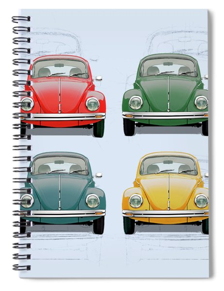 Volkswagen Type 1 - Variety Of Volkswagen Beetle On Vintage Background Spiral Notebook
