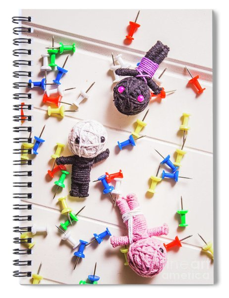 Voodoo Dolls Surrounded By Colorful Thumbtacks Spiral Notebook