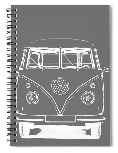 Spiral Notebook featuring the photograph Vw Van Graphic Artwork Tee White by Edward Fielding