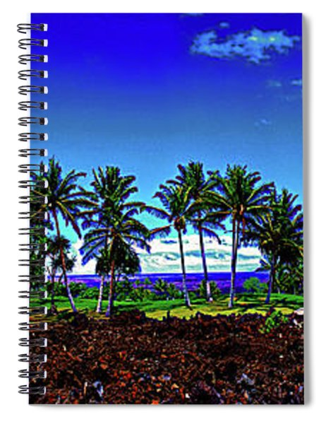 Waikoloa Beach Golf Course Lava And Palm Trees  Spiral Notebook