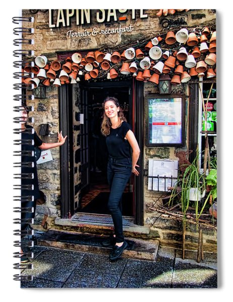 Waitresses At Outdoor French Terroir In Old Quebec City Spiral Notebook
