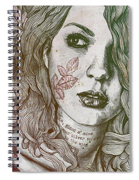 Wake - Autumn - Street Art Woman With Maple Leaves Tattoo Spiral Notebook