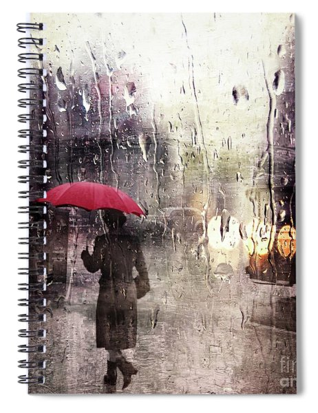 Walking In The Rain Somewhere Spiral Notebook