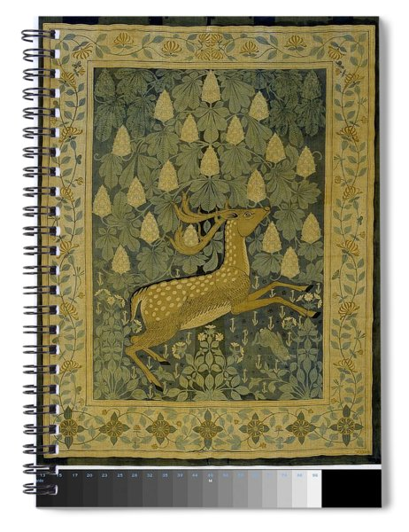 Wall Cloth With Jumping Deer Against A Background Of Flowering Chestnuts, Willem Karel Rees, C. 1902 Spiral Notebook