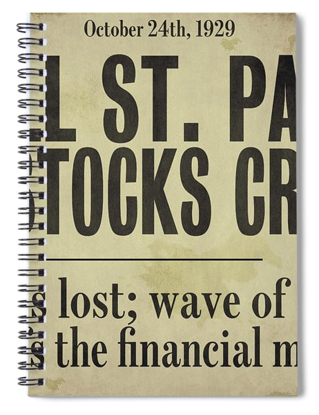 Wall Street Crash 1929 Newspaper Spiral Notebook