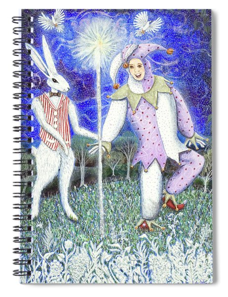 Wand With Magician And Jester Spiral Notebook