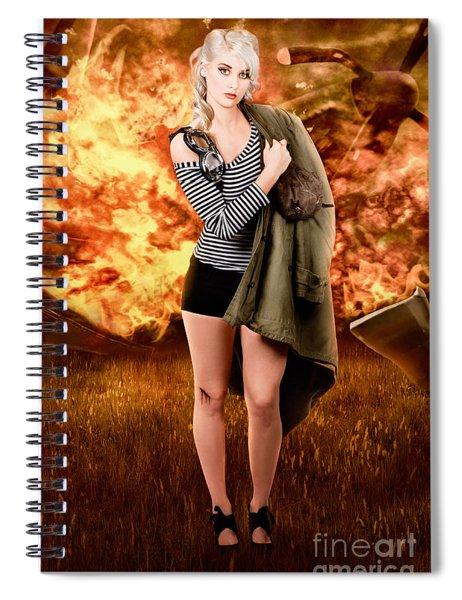 War Pilot Pin-up Woman Walking From Plane Crash Spiral Notebook