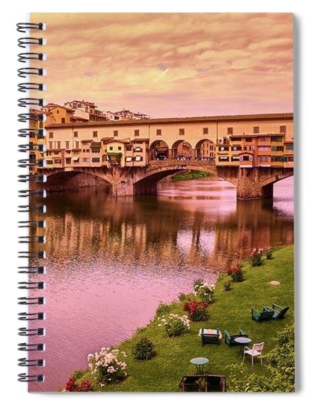 Sunset At Ponte Vecchio In Florence, Italy Spiral Notebook